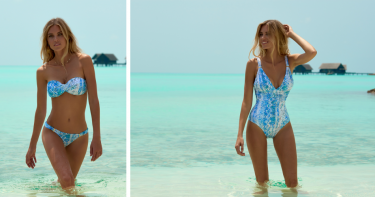 Melissa Odabash: Serpente Print Panarea 1-Piece Swimsuit and Martinique Bandeau Bikini