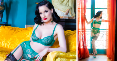 Odyssey Boutique Lingerie, Dita von Teese Tryst Evergreen Underwired Bra and Bikini Brief