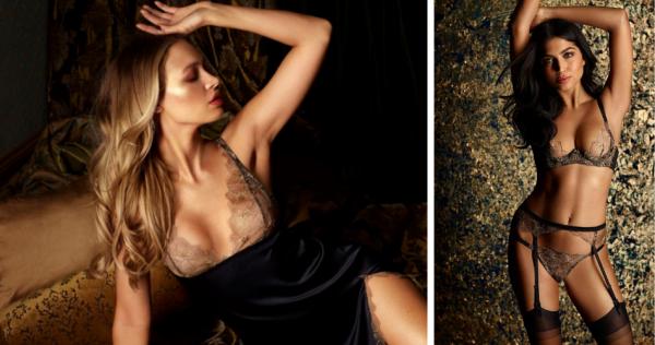 Coco de Mer Danae Black and Gold Lace Plunge Bra, Brazilian Brief, Suspender & Slip
