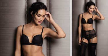 Odyssey Boutique Lingerie Edinburgh Scotland - Wacoal Opulence Deep Plunge Bra, Brief, Tanga and Suspender, Black