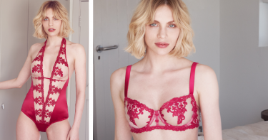 Odyssey Boutique Lingerie Edinburgh, Fleur of England: Wallflower Silk Balcony Bra, Brief, Thong & Suspender and Body, Ruby Red