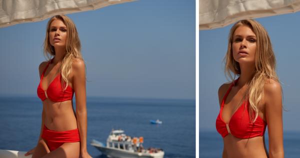 Melissa Odabash: Provence Red Pique Underwired Halter Bikini