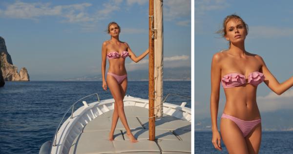 Melissa Odabash: St Kitts Red Gingham Ruffle Bandeau Bikini