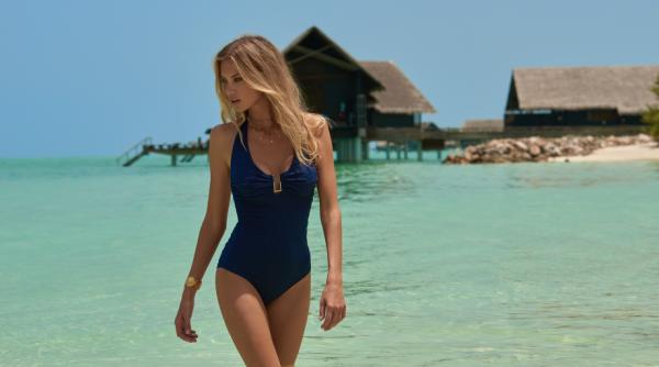 Melissa Odabash: Navy Tampa 1-Piece Zig-Zag Swimsuit