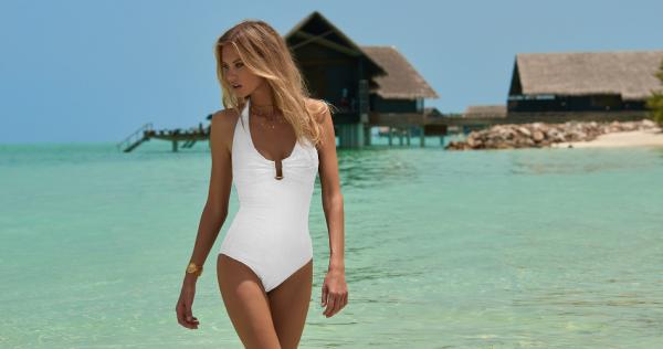 Melissa Odabash: White Tampa 1-Piece Zig-Zag Swimsuit