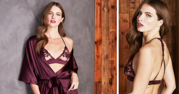 Fleur of England Bordeaux Burgundy Emroidered Silk Robe and Boudoir Bra, Brief and Thong