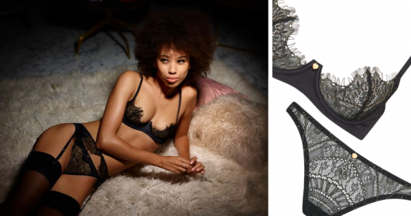 Odyssey Boutique Lingerie, Coco de Mer Playboy Gilded Heart Black and Gold Lace Plunge Bra, Bikini, Thong and Suspender