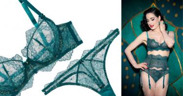 Odyssey Boutique Lingerie, Dita von Teese Lurex Lace Lucite Blue Petrol GreenUnderwired Bra Bikini, Thong and Suspender
