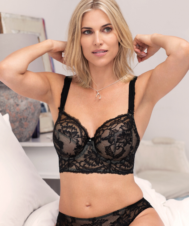 Woman in properly fitting bra - featuring Fantasie Bronte, Black