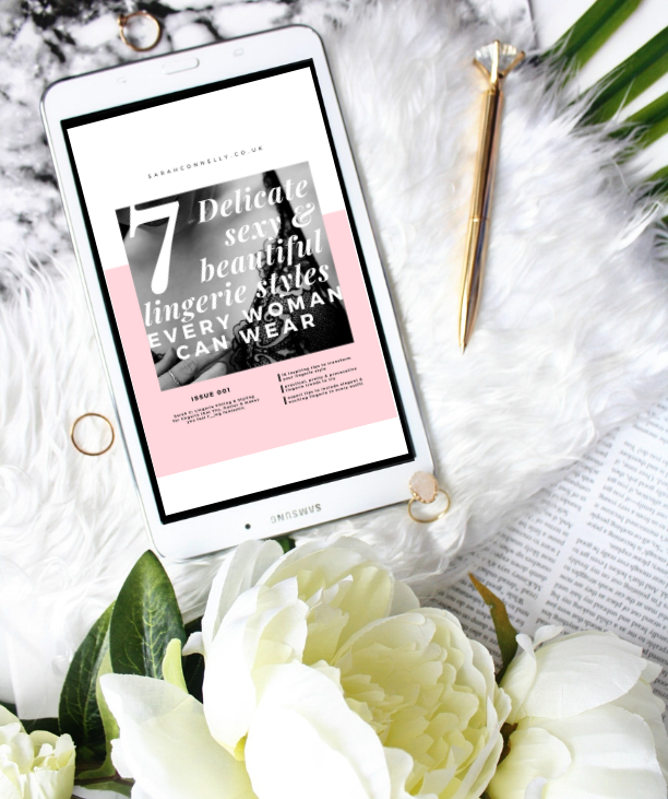 7 Lingerie styles look-book displayed on ipad next to flowers