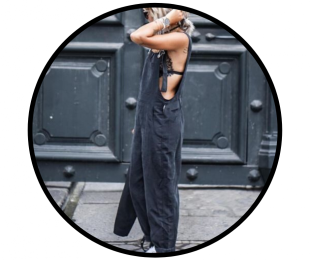 woman wearing soft cup triangle bralette with dungaree jumpsuit