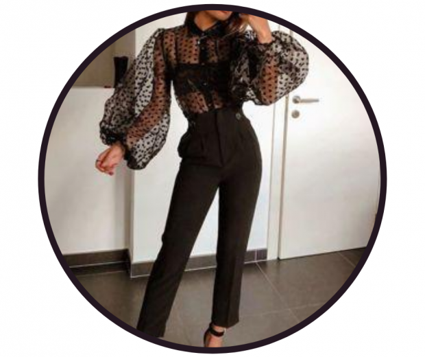 Sheer blouse with black balcony bra and trouser outfit -pic LilyLulu