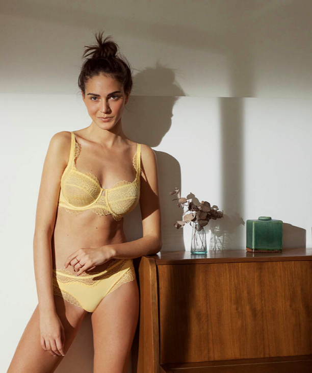 Sarah C - Woman in properly fitting Yellow Lace Balconette Bra