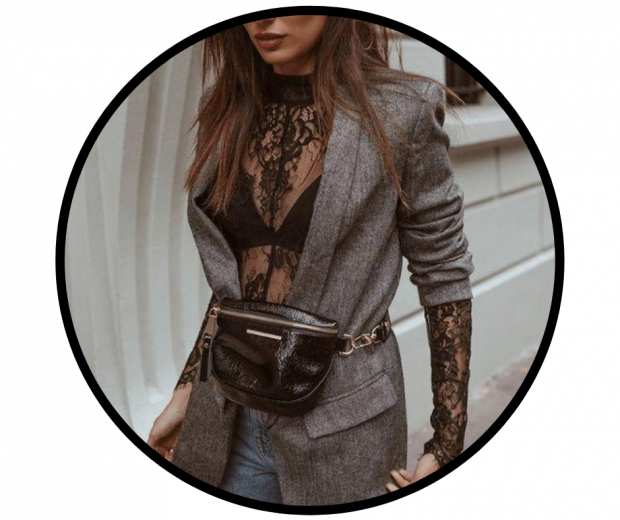 Woman wearing black lace long-sleeve body and grey tweed blazer