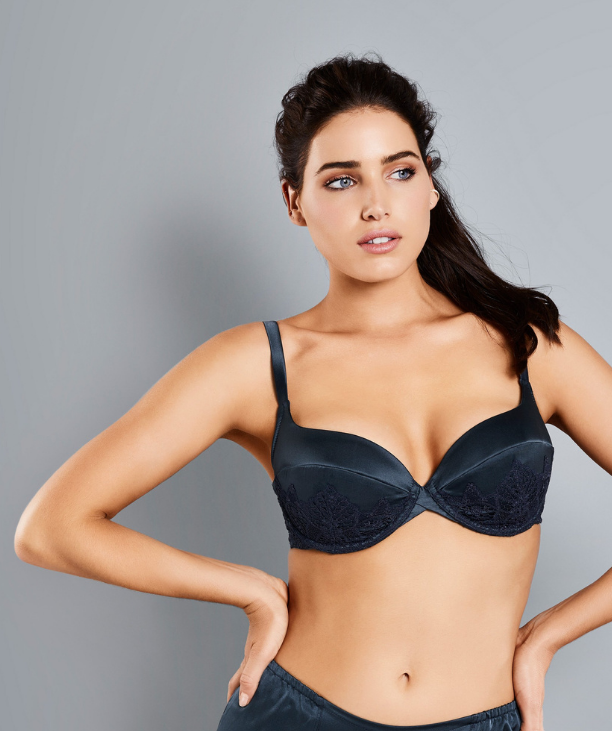 Bigger bust woman wearing blue Adina Reay bra